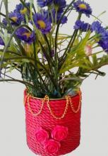 هنر در خانه,آموزش,گلدان با قوطی کنسرو,shabnamha.ir,شبنم همدان,afkl ih