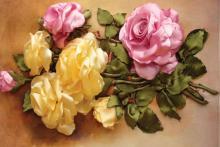 آموزش,هنر در خانه,گل رز با روبان,گل رز روبانی,shabnamha.ir,شبنم همدان,afkl ih